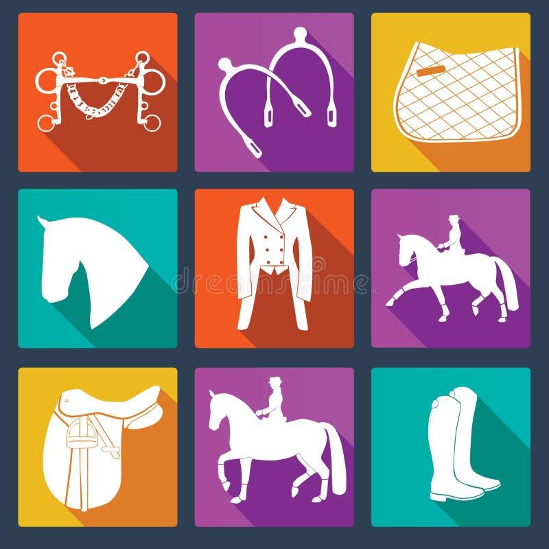 Комплект equine значков вектора бесплатная иллюстрация