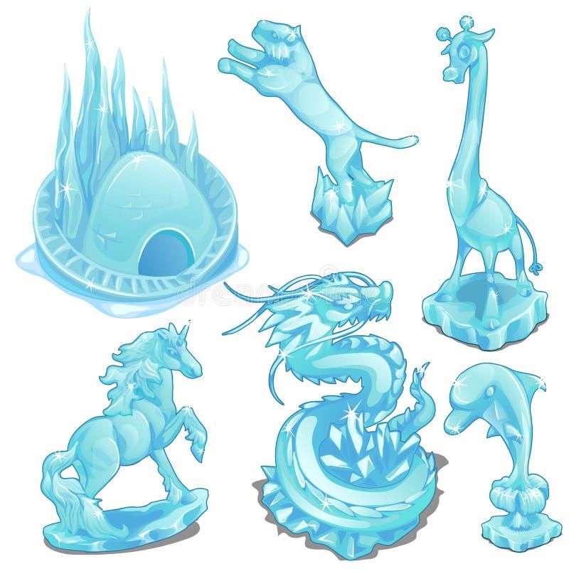 Комплект figurines льда одичалых и фантастических животных иллюстрация вектора