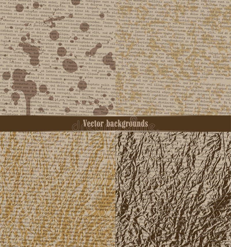 Комплект grungy предпосылок Старая бумага с typewritten текстом иллюстрация вектора