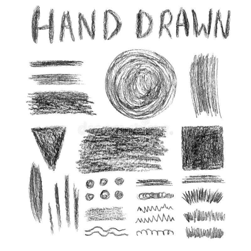Комплект grungy текстур карандаша Элементы вектора Ходы и знамена щетки иллюстрация вектора