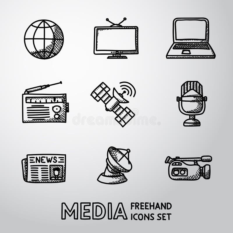 Комплект handdrawn значков средств массовой информации - новости, радио, ТВ бесплатная иллюстрация
