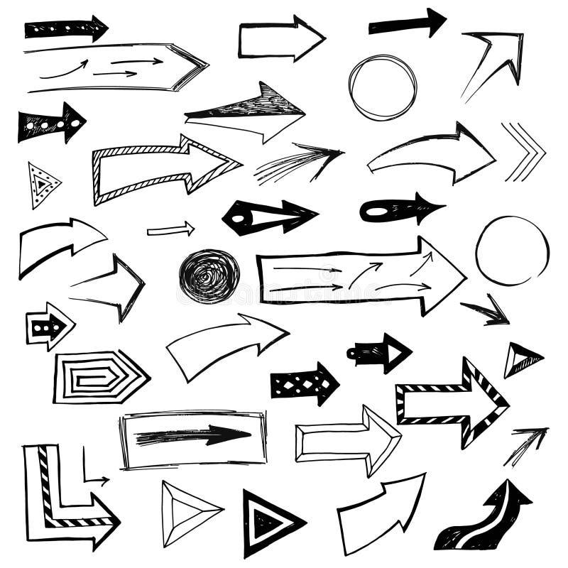 Комплект handdrawn стрелок на белой предпосылке также вектор иллюстрации притяжки corel бесплатная иллюстрация