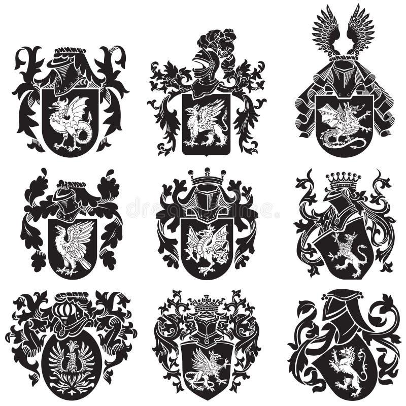 Комплект heraldic силуэтов No2 иллюстрация штока