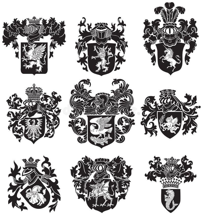Комплект heraldic No3 силуэтов бесплатная иллюстрация