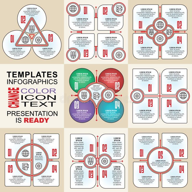 Комплект infographics вектора план Собрание шаблонов для диаграммы цикла, диаграммы, представления и круглой диаграммы иллюстрация штока