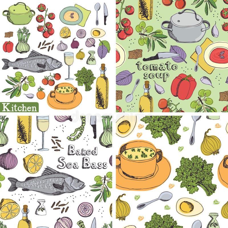 Комплект Kitchen&food иллюстрация вектора