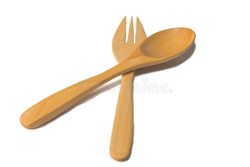 Комплект Kitchenware деревянных ложки и вилки стоковые фотографии rf