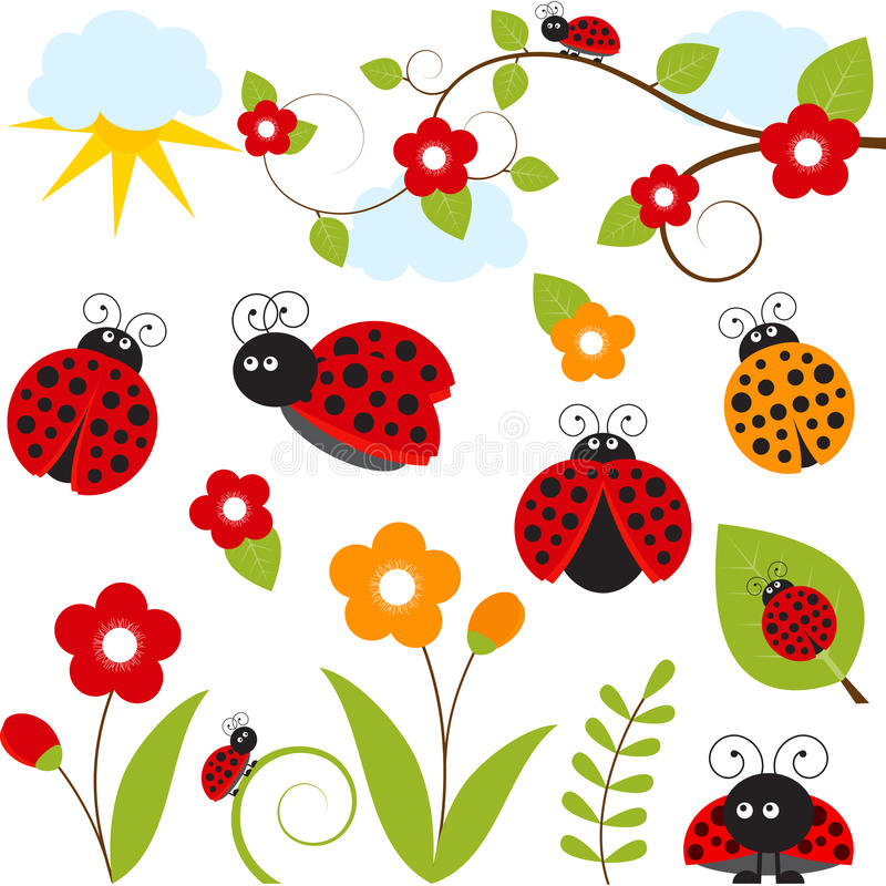 Комплект Ladybug иллюстрация вектора