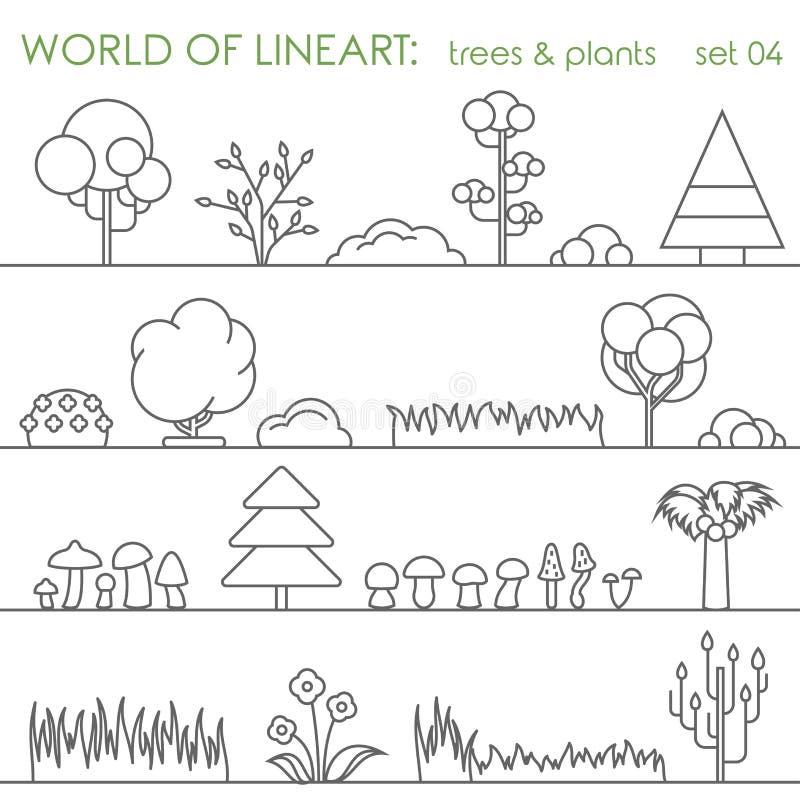 Комплект lineart естественного завода дерева графический Линия вектор искусства иллюстрация вектора