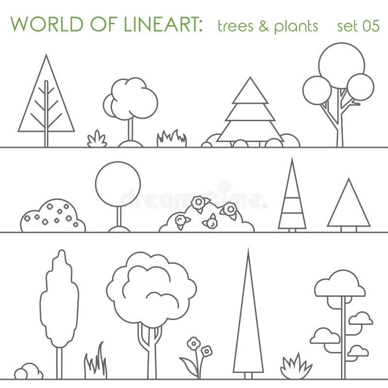 Комплект lineart завода куста дерева графический Линия вектор искусства иллюстрация штока