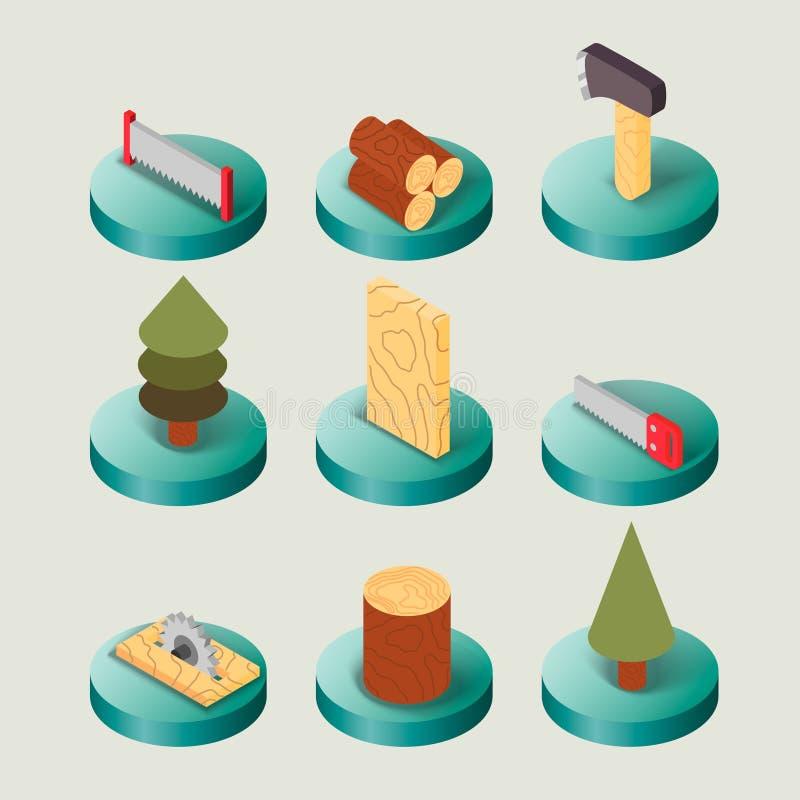Комплект Lumberjack плоско равновеликий бесплатная иллюстрация