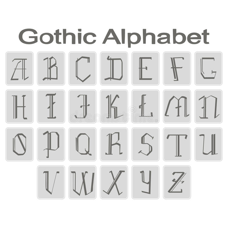 Комплект monochrome значков с готическим алфавитом бесплатная иллюстрация