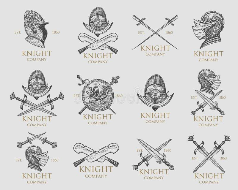 Комплект monochrome эмблем рыцарей, значков, ярлыков и шлема логотипов средневекового, шпаг, жезла, daggers антиквариат экрана иллюстрация вектора