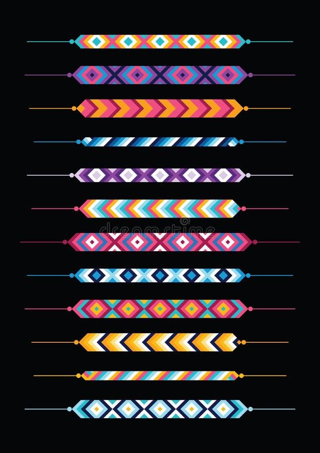 Комплект multicolor браслетов hippie приятельства иллюстрация штока