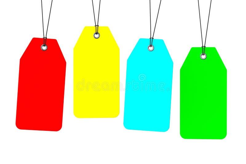 Комплект Multicolour пустых бирок бесплатная иллюстрация