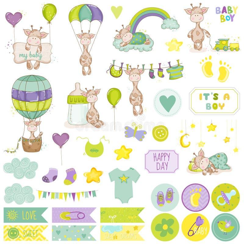 Комплект Scrapbook жирафа ребёнка декоративные элементы иллюстрация штока