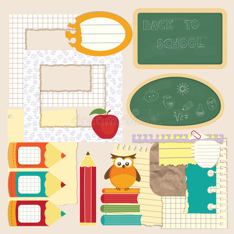 Комплект scrapbook школы иллюстрация вектора