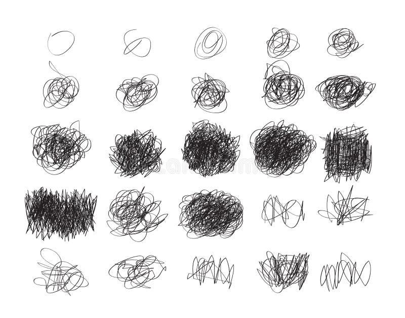 Комплект scribble Grunge нарисованного рукой объезжает, дизайн el логотипа вектора бесплатная иллюстрация
