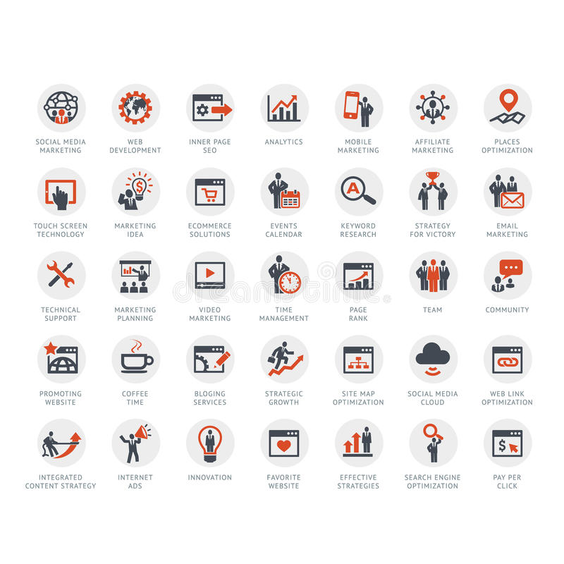 Комплект SEO и значков маркетинга иллюстрация штока