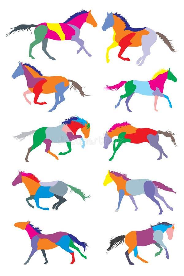Комплект silouettes лошадей вектора красочных иллюстрация вектора