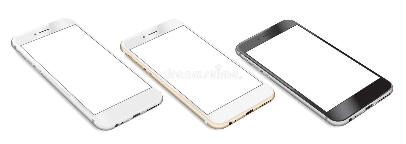 Комплект Smartphones при пустой экран лежа на плоской поверхности иллюстрация вектора