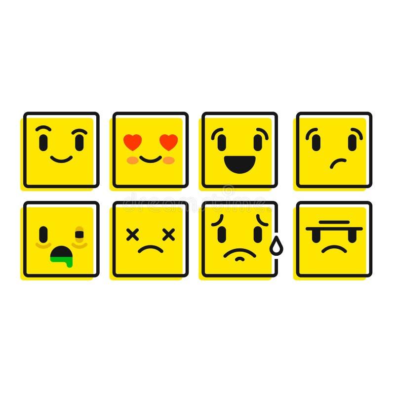 Комплект Smiley Комплект значков эмоции Кнопки эмоции стоковое фото