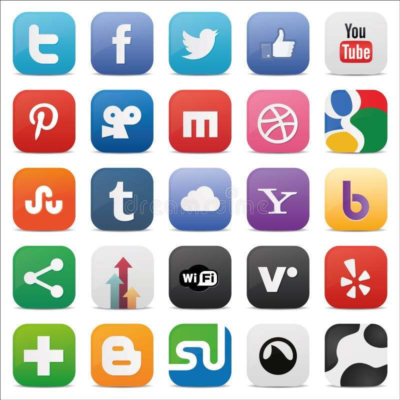 Комплект Social придал квадратную форму значкам иллюстрация штока