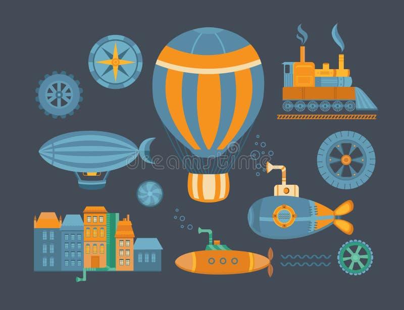 Комплект steampunk объектов иллюстрация штока
