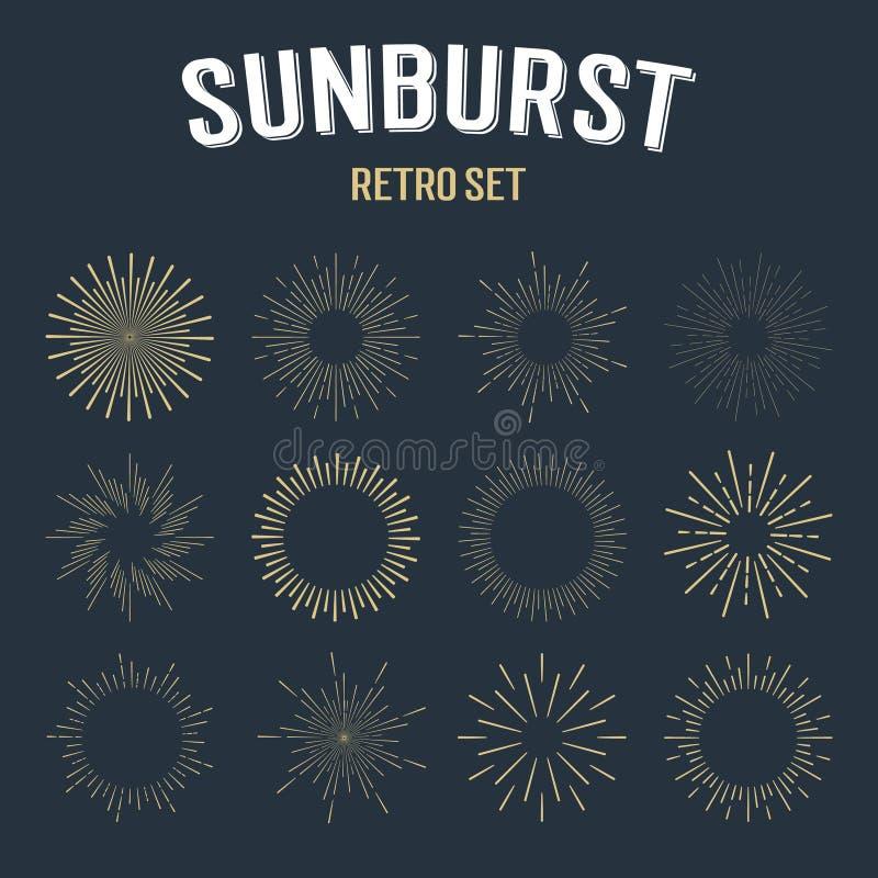 Комплект sunbursts золота винтажных линейных иллюстрация вектора