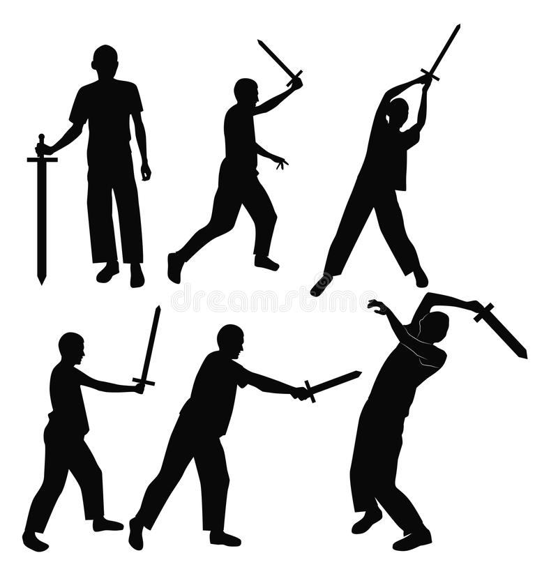 Комплект swordsman силуэтов иллюстрация вектора