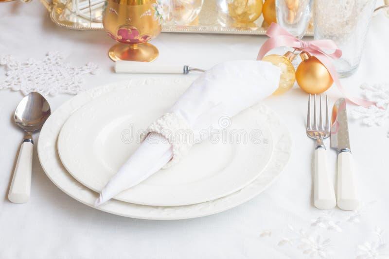 Комплект Tableware рождества стоковое фото rf
