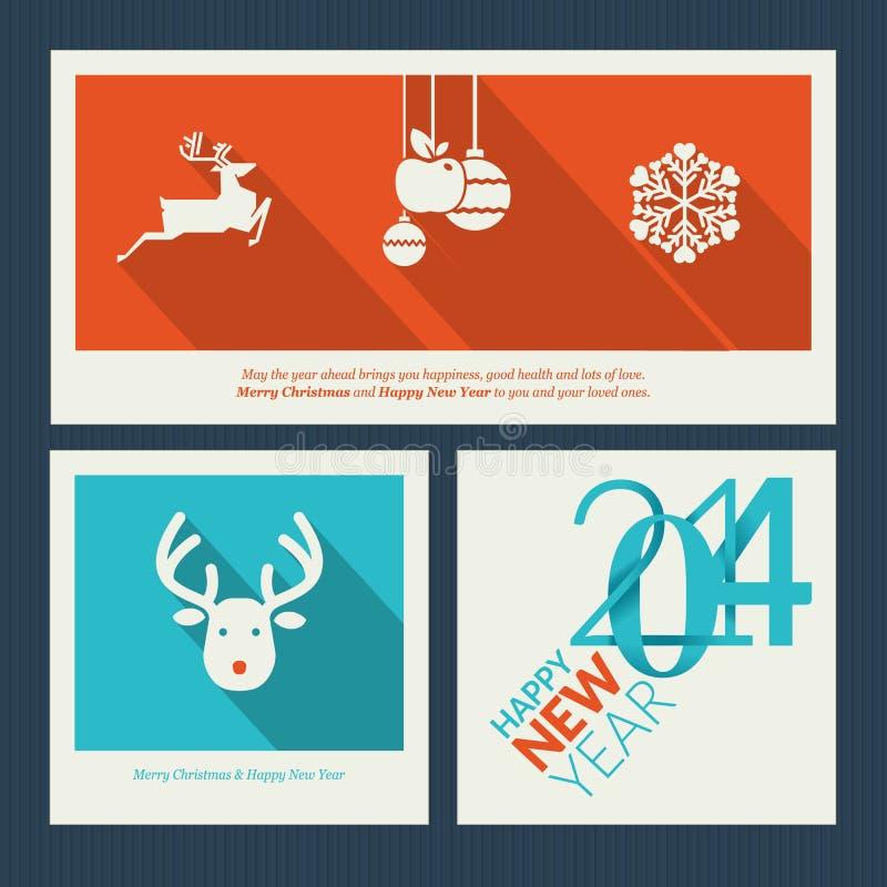 Комплект templa поздравительной открытки рождества и Нового Года иллюстрация вектора