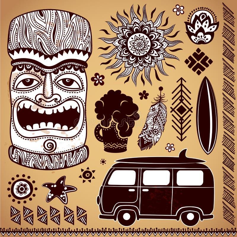 Комплект Tiki года сбора винограда Aloha иллюстрация штока