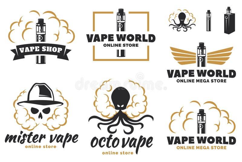 Комплект vape, логотипа e-сигареты иллюстрация штока