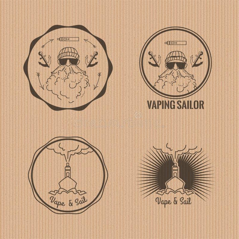 Комплект vaping логотипов круга иллюстрация штока