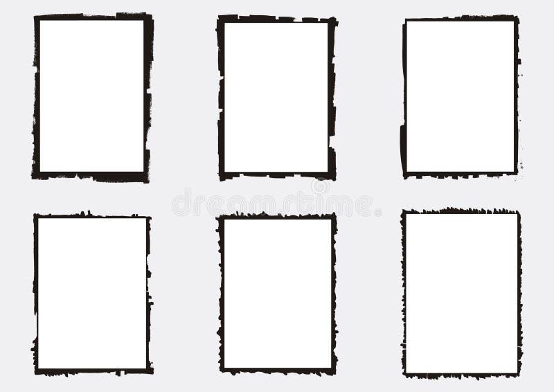 Комплект vectorized grungy рамок фотографии иллюстрация штока
