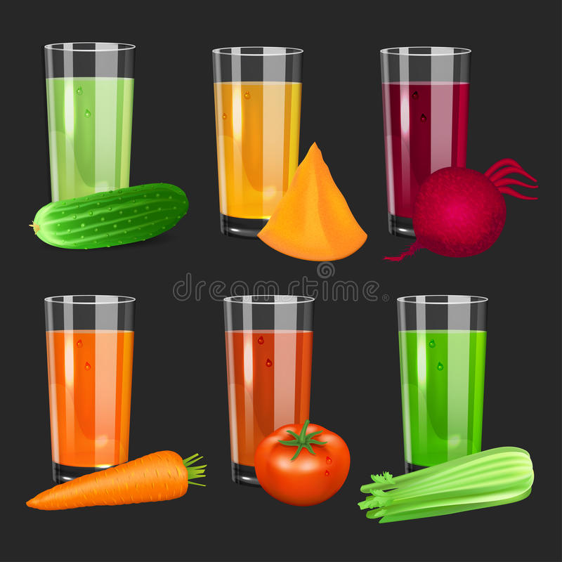Комплект Vegetable соков Огурец, томат, морковь, тыква, свекла иллюстрация штока