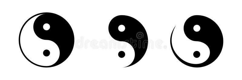 Комплект yin и символов yang также вектор иллюстрации притяжки corel иллюстрация штока
