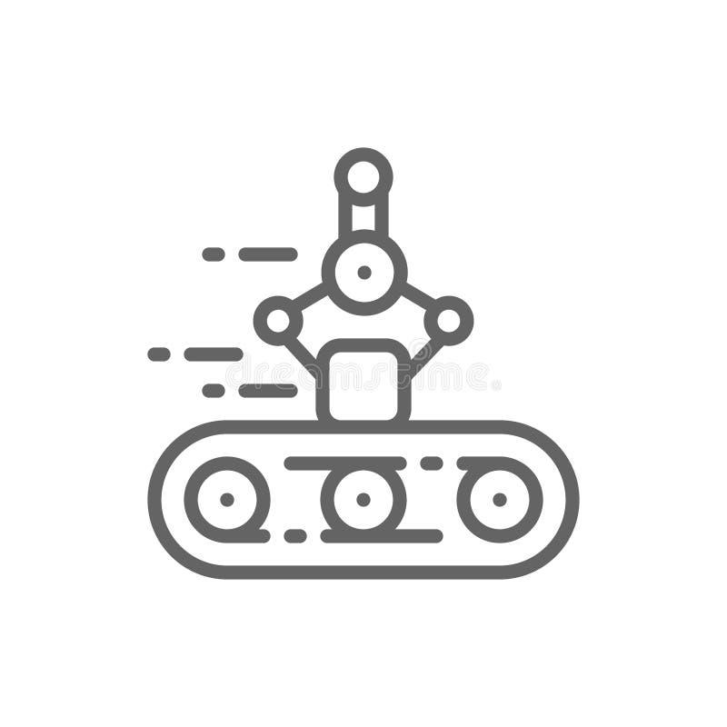 Конвейерная лента, механическая рука, робототехническая линия упаковки значок иллюстрация вектора