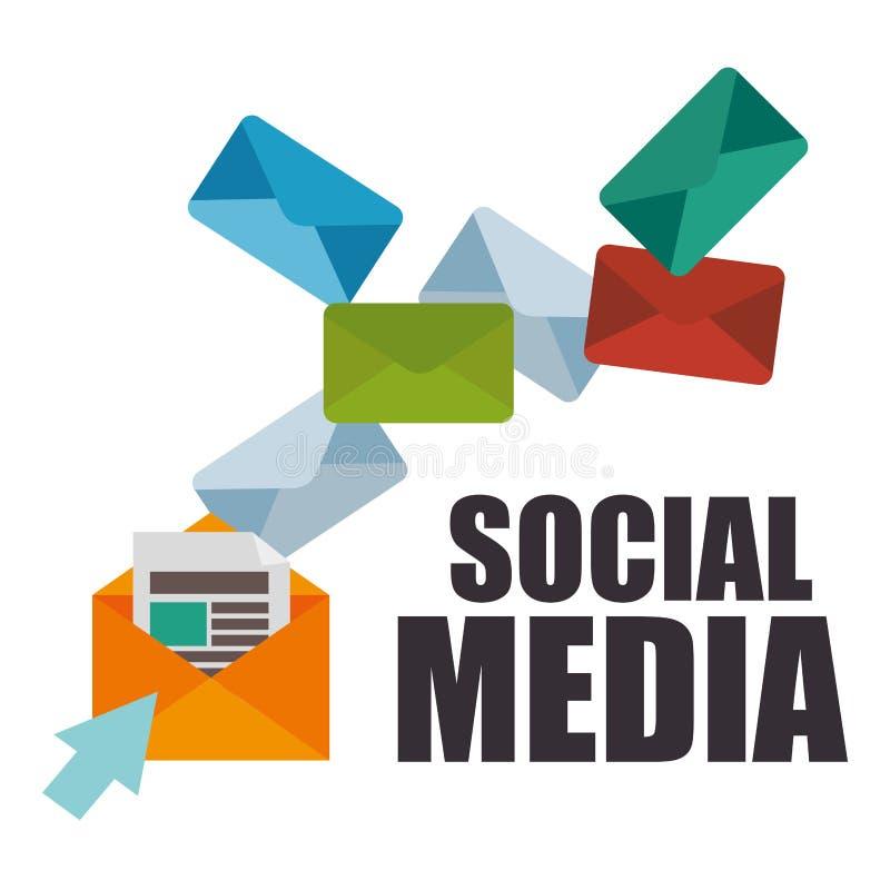 Конверты с социальным значком средств массовой информации иллюстрация вектора