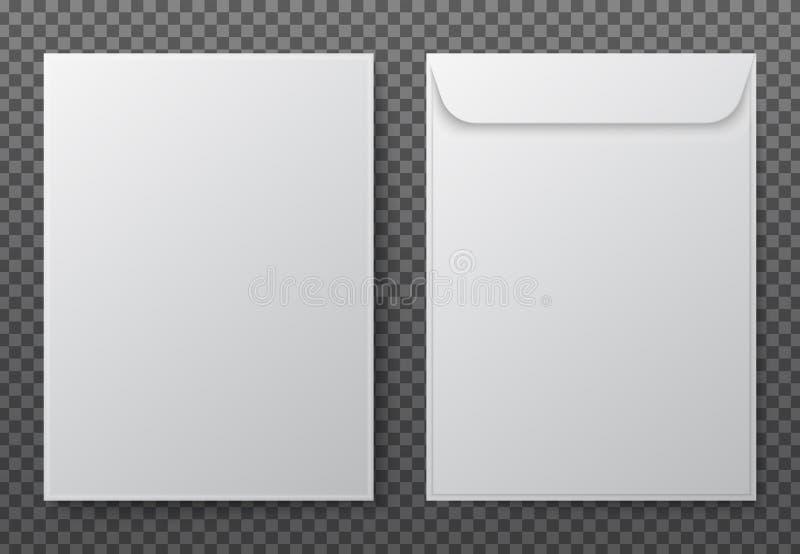 Конверт a4 Бумажные белые пустые конверты письма для вертикального документа Модель-макет вектора изолированный на прозрачной пре иллюстрация штока