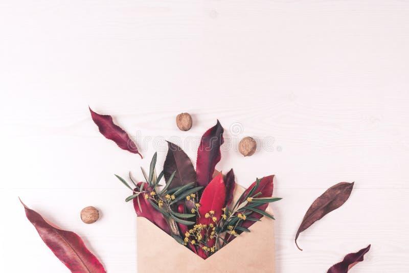 Конверт, листья, гайки и состав цветка стоковое изображение