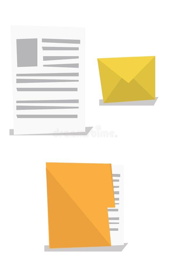 Конверт, документ и папка с файлом бесплатная иллюстрация