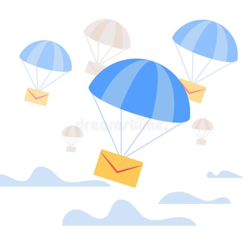 Конверт падая вниз с голубым парашютом в небе иллюстрация вектора