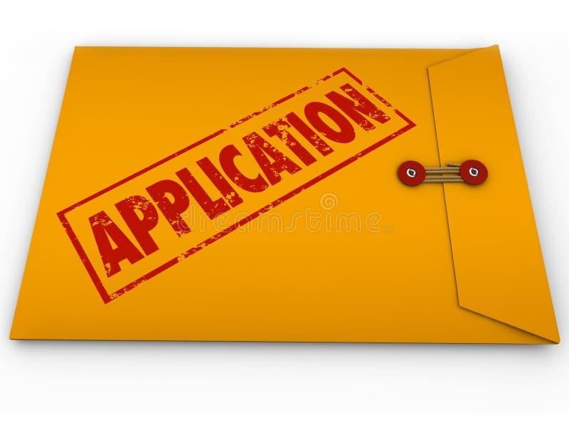 Конверт применения желтый представляет прикладывает утверждение кредита работы иллюстрация вектора