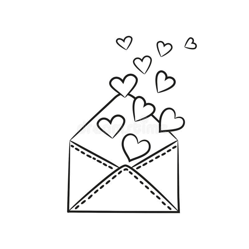 Конверт с сердцами на белой предпосылке иллюстрация вектора