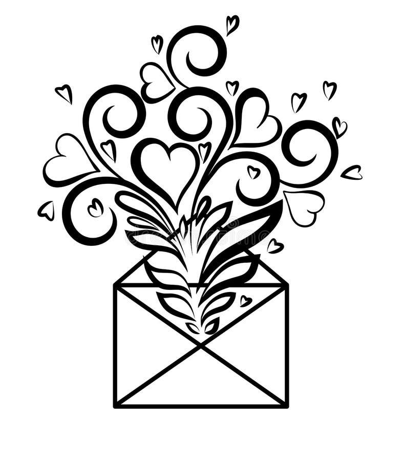Конверт с флористическим дизайном и сердцами, символом бесплатная иллюстрация