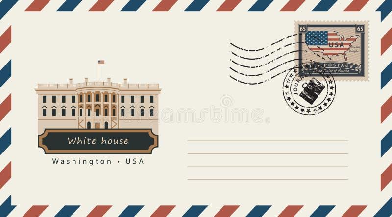 Конверт с штемпелем почтового сбора с Белым Домом иллюстрация штока