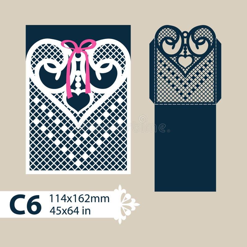 Конверт шаблона с высекаенным openwork сердцем иллюстрация штока