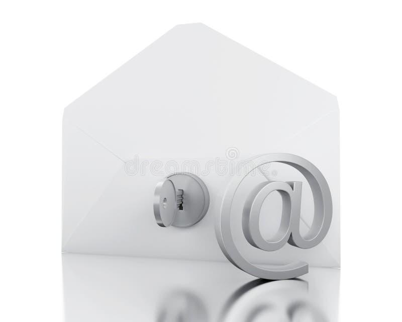 конверт 3d с НА знаком и замком иллюстрация штока
